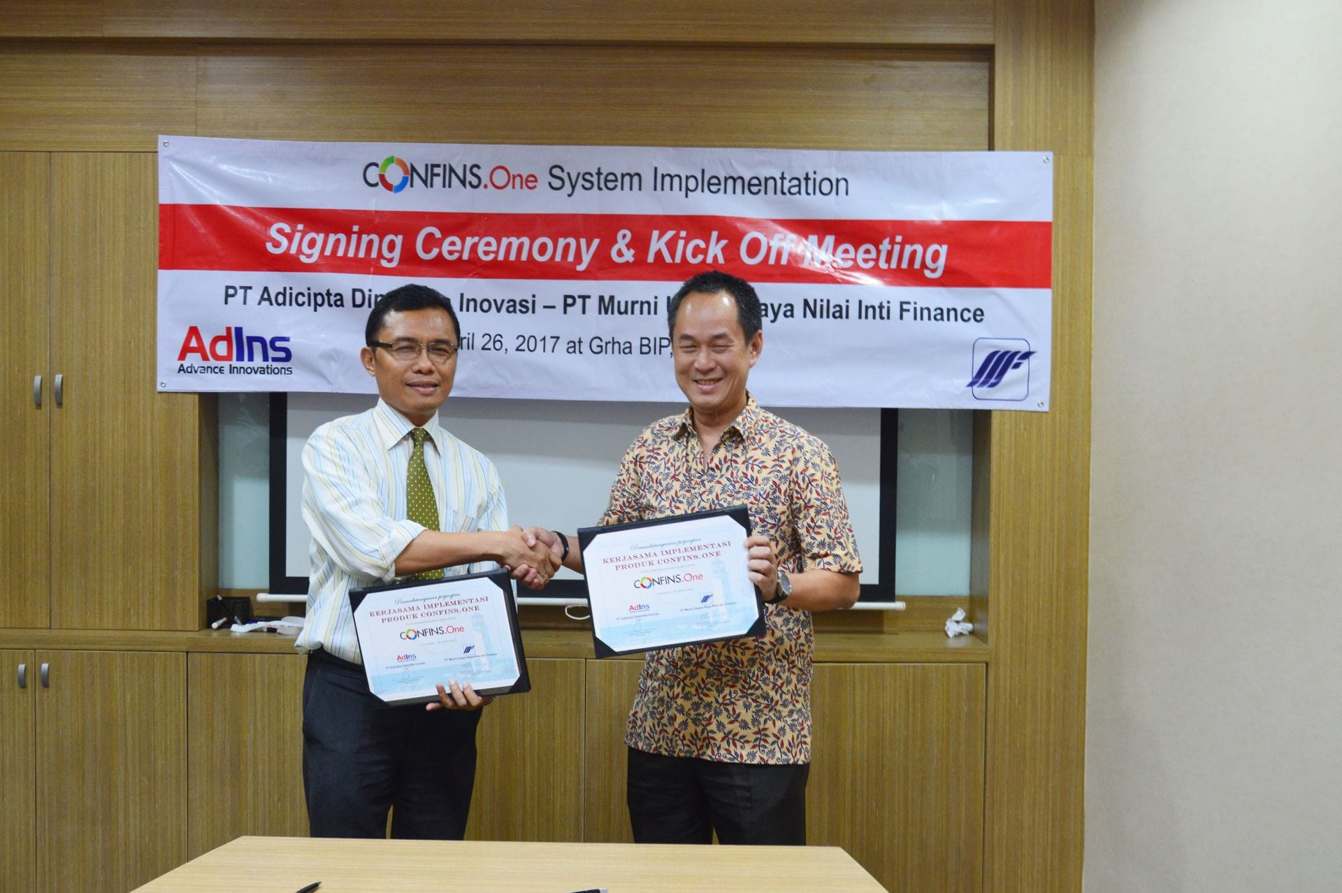 CONFINS.One System Implementation Signing Ceremony and Kick Off Meeting With Murni Fiance