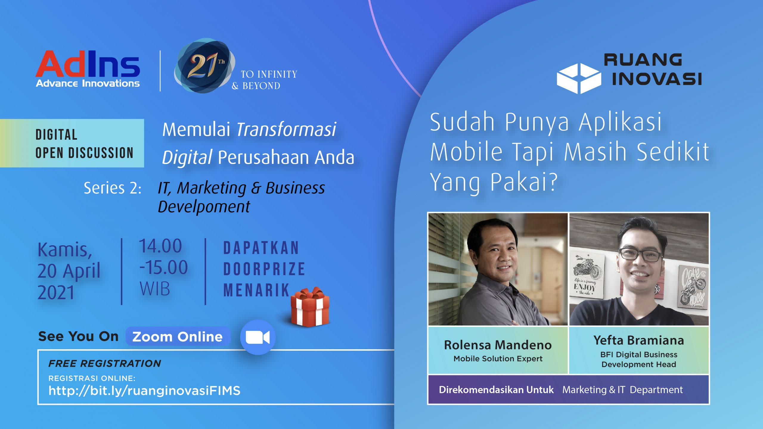 "Ruang Inovasi: ""Starting Your Company Digital Transformation"" (Seri 3: IT Department)"