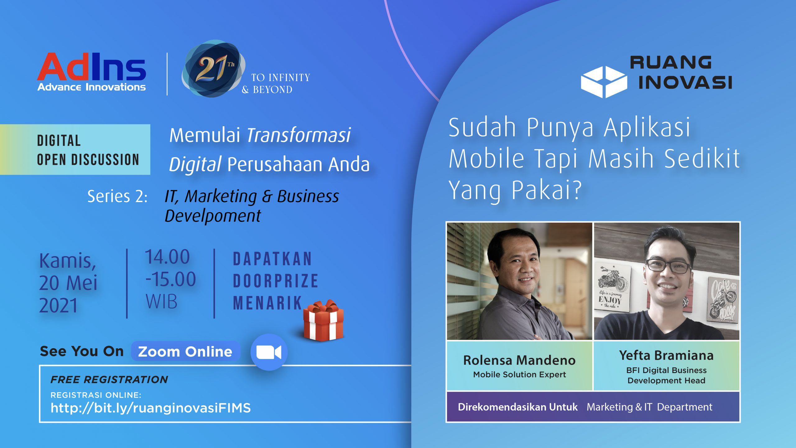 "Ruang Inovasi: ""Memulai Transformasi Digital Perusahaan Anda"" (Seri 2: Marketing & Business Development)"